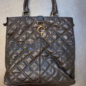 J crew leather quilted tote handbag